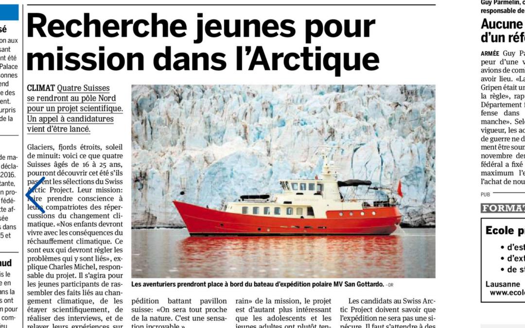 """20 Minuten: """"Recherche jeunes pour mission dans l'Arctique"""""""