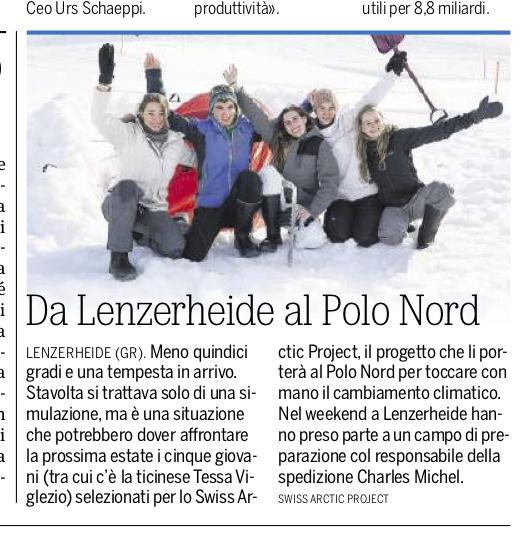 """20 Minuti: """" Il viaggio per il Polo Nord passa da Lenzerheide"""""""
