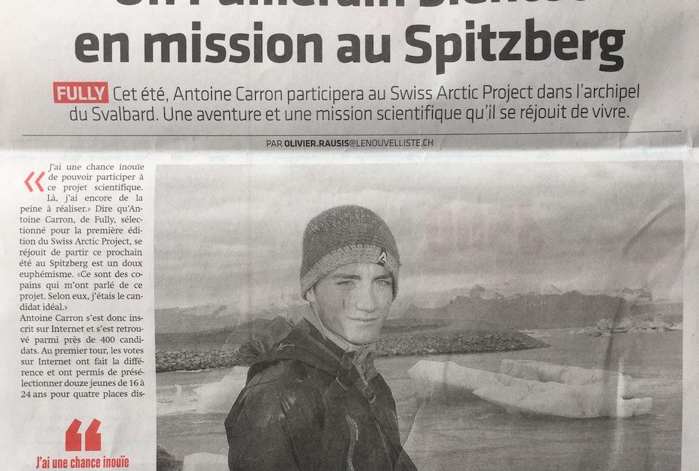 """Le Nouvelliste: """"Un Fulliérain bientôt en mission au Spitzberg"""""""