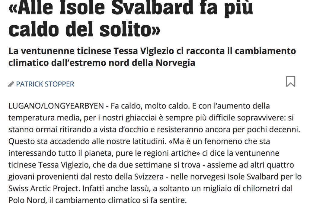 """20 minuti: """"Alle Isole Svalbard fa più caldo del solito"""""""