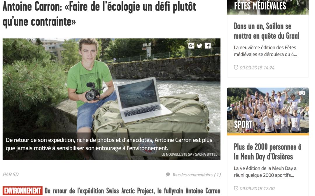 Le Nouvelliste: Antoine Carron: «Faire de l'écologie un défi plutôt qu'une contrainte»