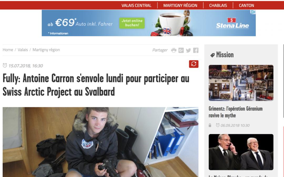 """Le Nouvelliste: """"Fully: Antoine Carron s'envole lundi pour participer au Swiss Arctic Project au Svalbard"""""""