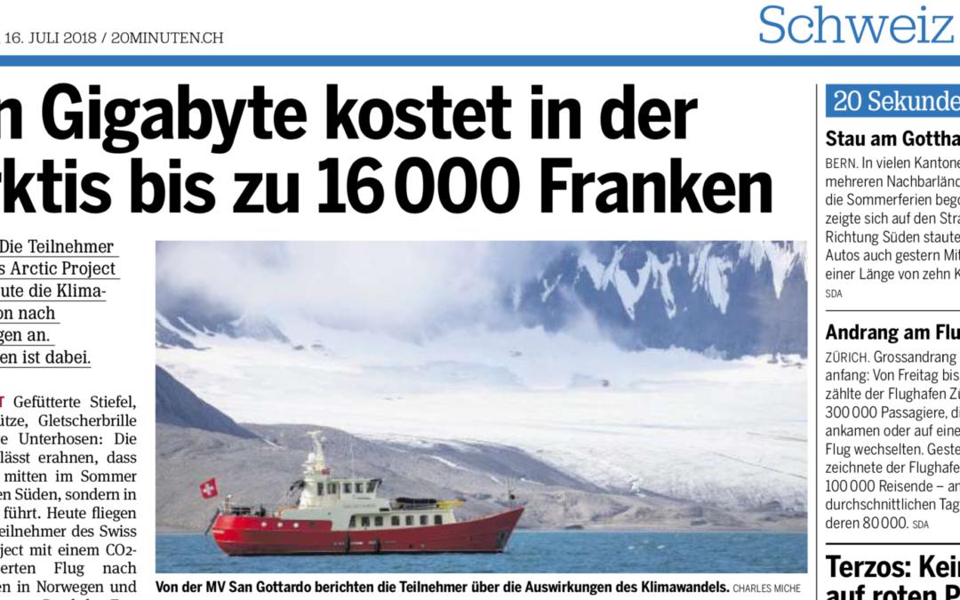 """20 Minuten: """"Ein Gigabyte kostet in der Arktis bis zu 16'000 Franken"""""""