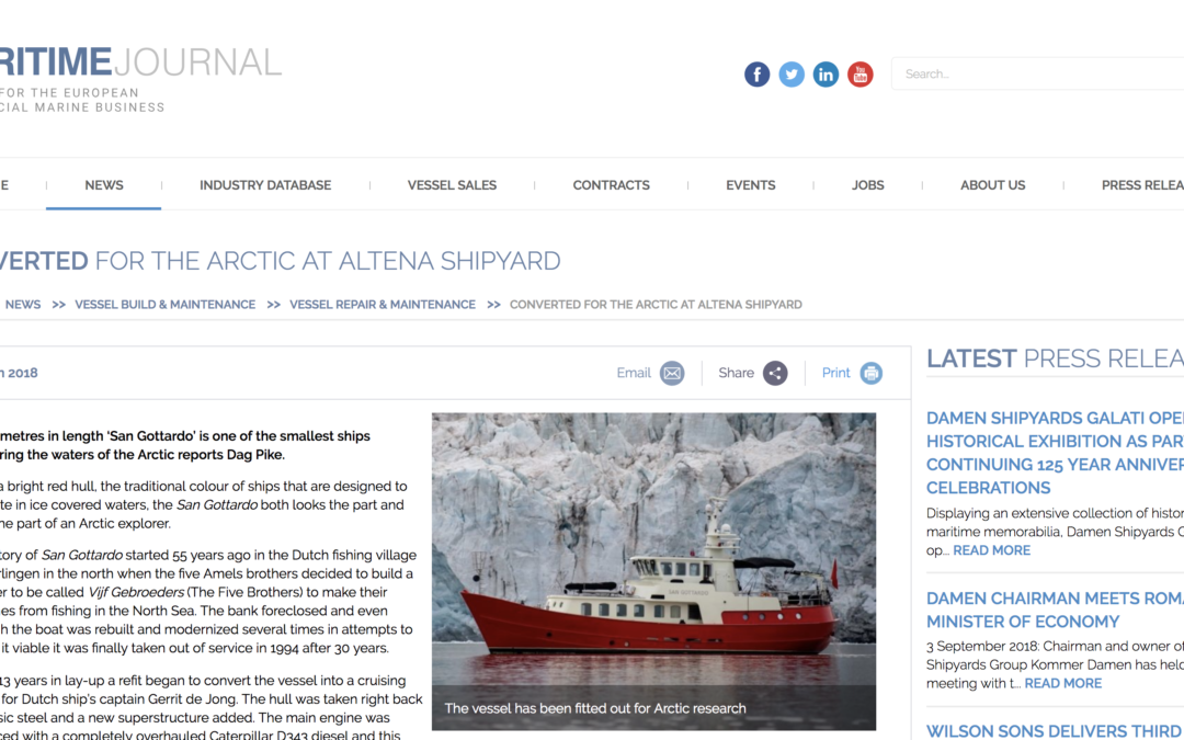 "MARITIME JOURNAL: ""Converted for the arctic at Altena shipyard"""